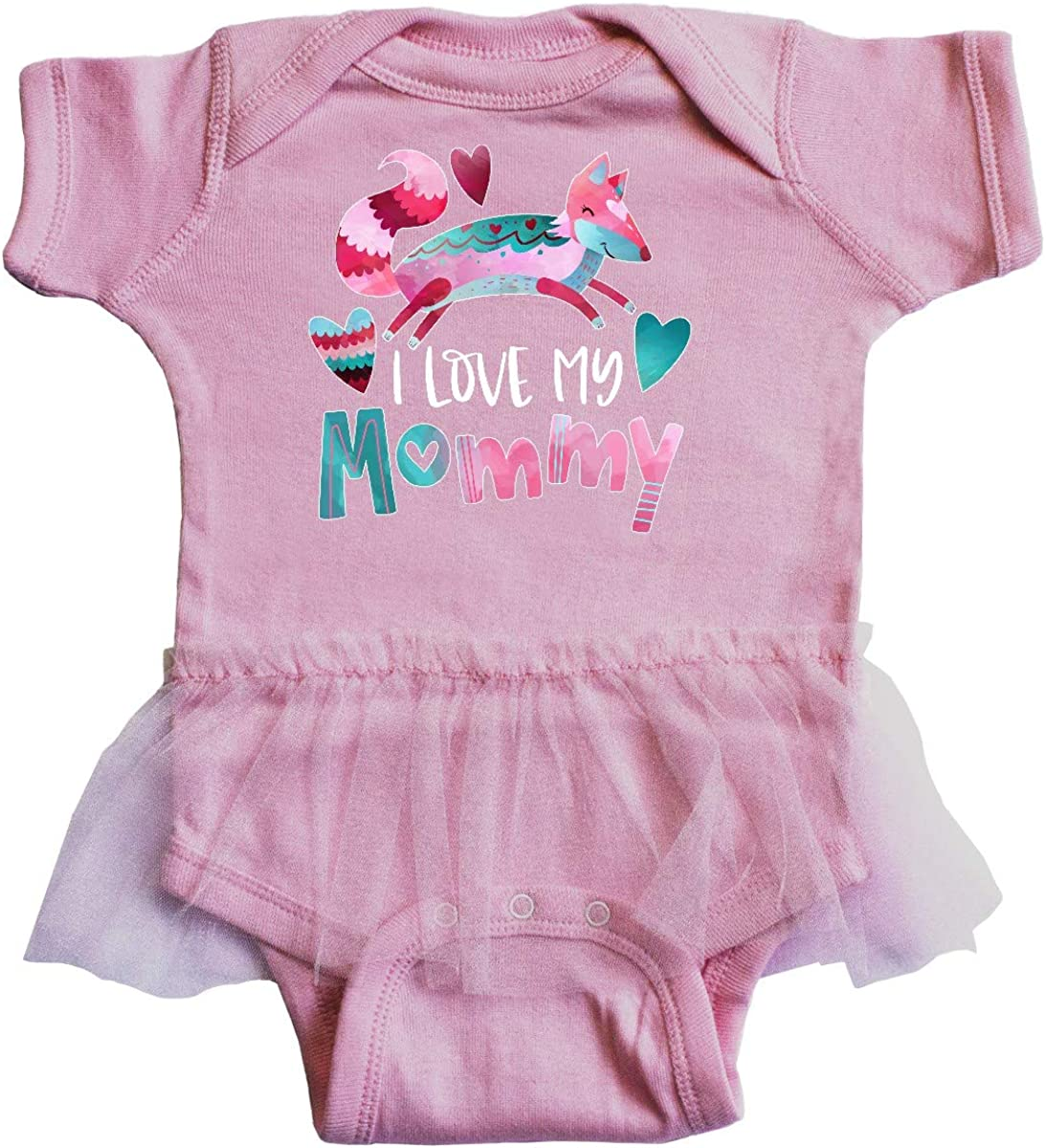 inktastic I Love My Mommy Pink and Blue Fox with Hearts Infant Tutu Bodysuit
