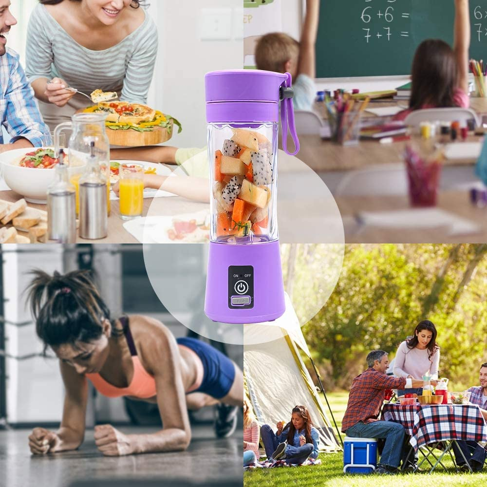 Camping und Sportarten Geeignet f/ür Familien Mixer 380ML Tragbar Entsafter Mini Standmixer Entsafter USB Wiederaufladbar und 380ML Kapazit/ät