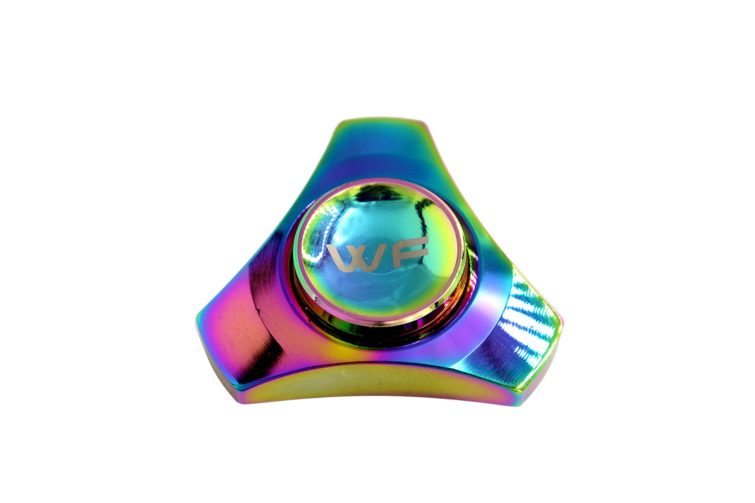 WeFidget ELECTROPLATED Mini Hand Spinner Designs, Insane Spin Times, Super Discrete, Premium Finishes, Replaceable Bearings, Trinity Design, Tin Travel Case Included