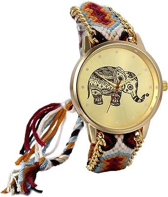 Amazon.com: JewelryWe Womens elefante Patrón weaved cuerda ...