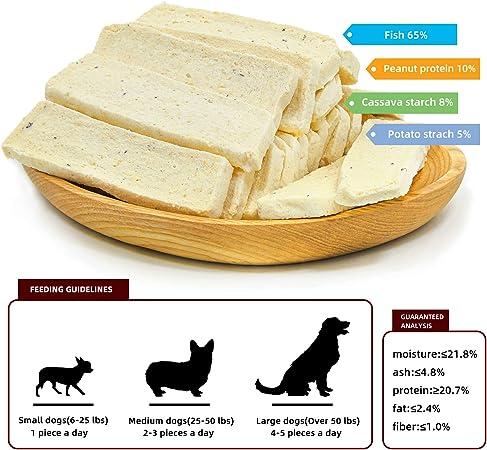 Jungle Calling Comida Perros, Golosinas para Perros Franja de Bacalao Sticks Dentales Perro Alta Proteína Suplemento de Calcio 300g