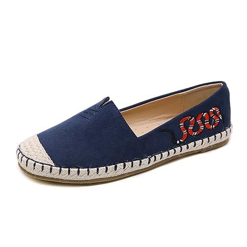 Suetar-SKT Mocasines con Puntera Redonda Suave y cómoda para Mujer Zapatos Planos de Gamuza de Moda Simple para Damas Adecuado para la Primavera Verano y ...