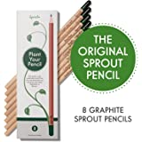 Sprout plantable graphite pencils with seeds in eco friendly wood | 8 Pack |Gift set with herbs and flowers