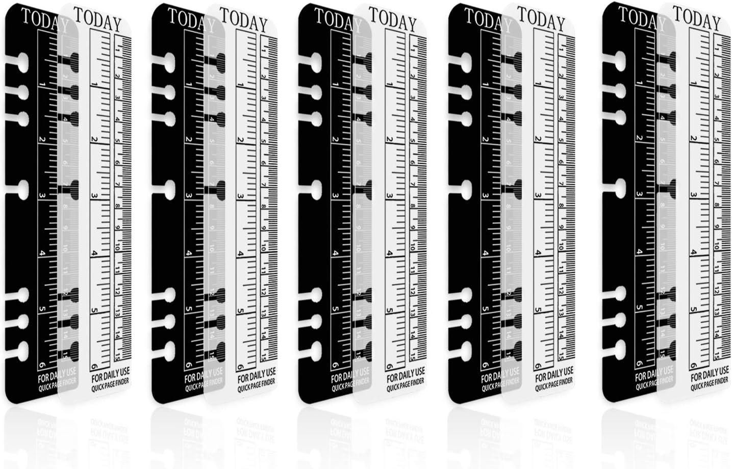 Larcenciel 10 pi/èces Carnet de notes A6 Filofax R/ègle 15cm Intercalaires de reliure de signet 6 trous /à fixation rapide Page dindex ins/érable dans le planificateur R/ègle en plastique de mesure