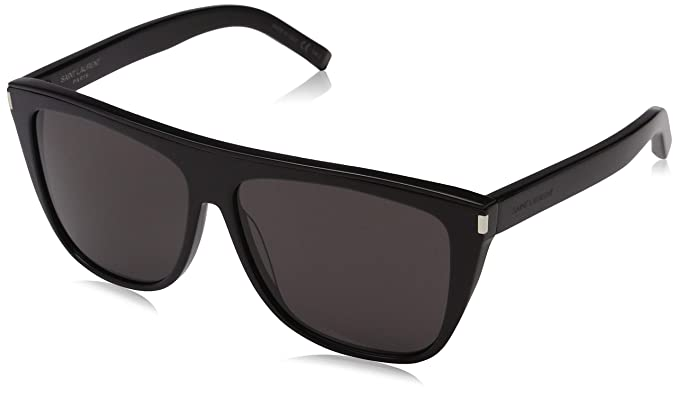 b10808c496 Image Unavailable. Image not available for. Color  Saint Laurent SL1 COMBI  002 Black SL1 COMBI Pilot Sunglasses Lens ...