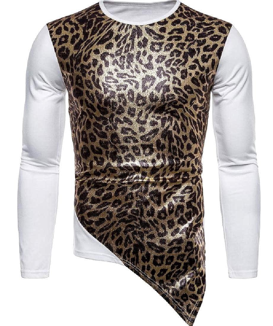 Losait Men Leopard Long-Sleeve Performance Large Size Tees Shirt