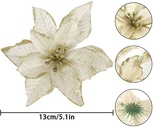 Glitter Poinsettia Artificial Flower Ornaments XmasTree Wreath Decorations