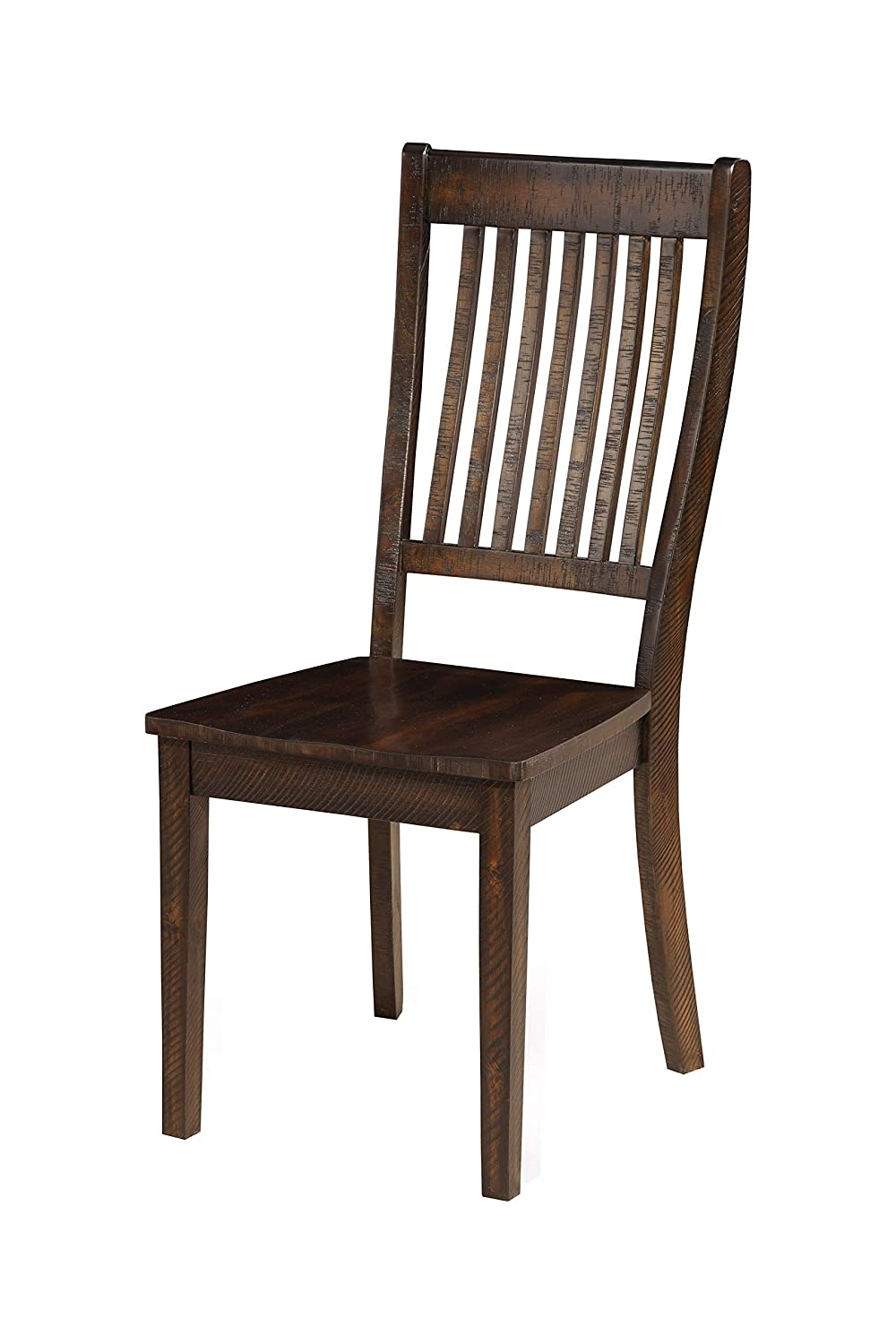 Amazon com alpine furniture acacia wood side chairs with slatted back set of two espresso brown chairs
