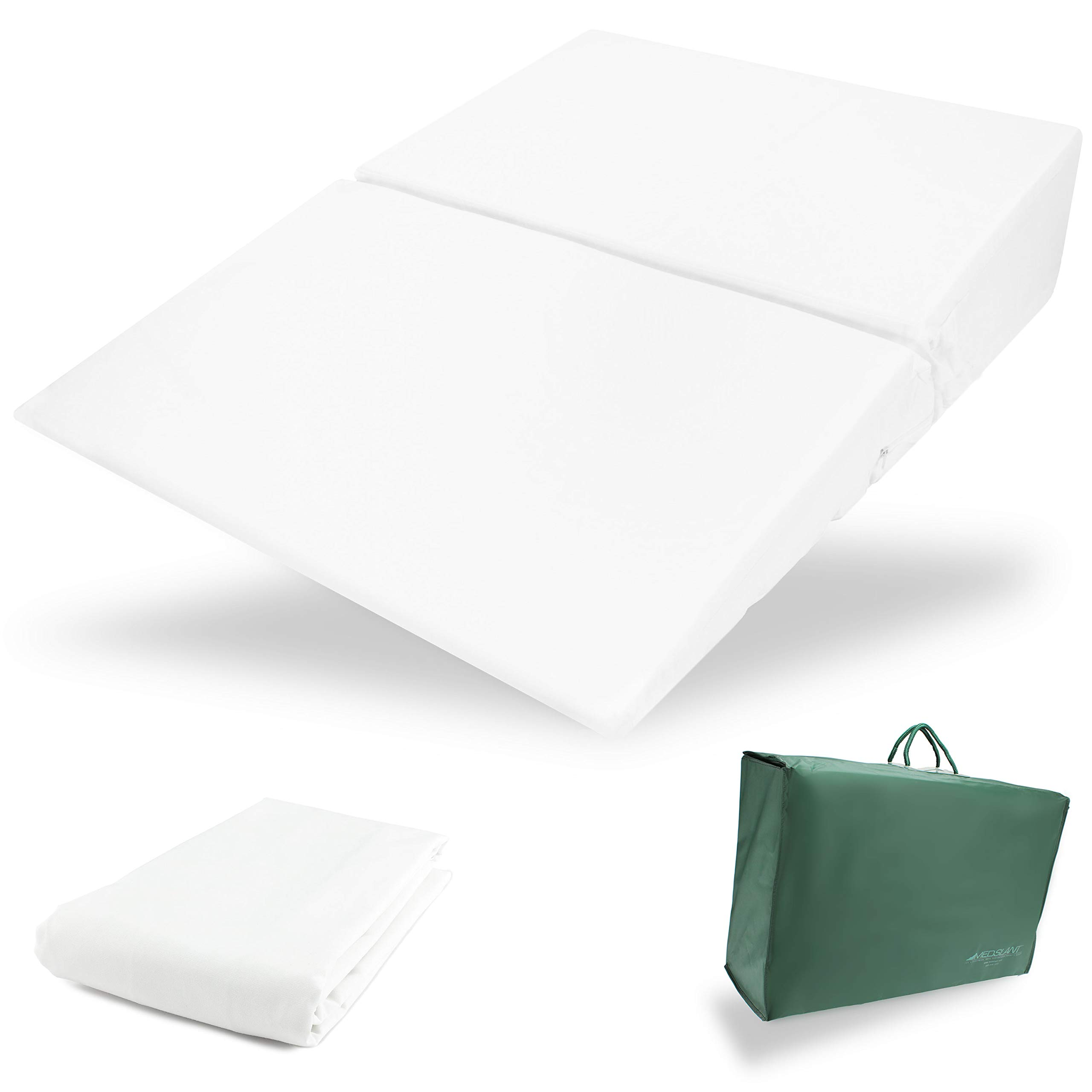 Wedge Pillow for Acid Reflux (32''x24''x7'') with Allergen Cover - Folding Pillow - Fitted Allergen Cover - Zippered Poly-Cotton Folding Cover - Quality Carry Case. Dr. Mike Roizen's Top Reflux Solution by MedSlant