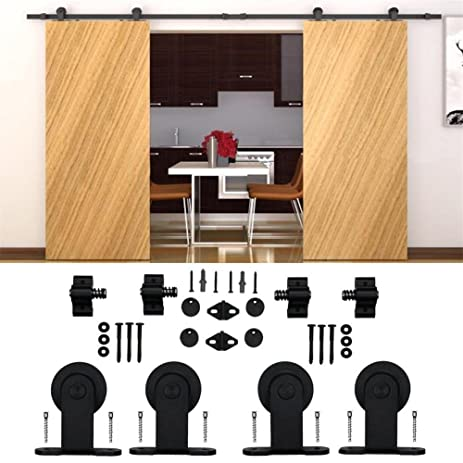 Captivating Kirin 9 FT Sliding Wood Barn Door Hardware Kit Black Heavy Duty Interior  Rolling Door Track