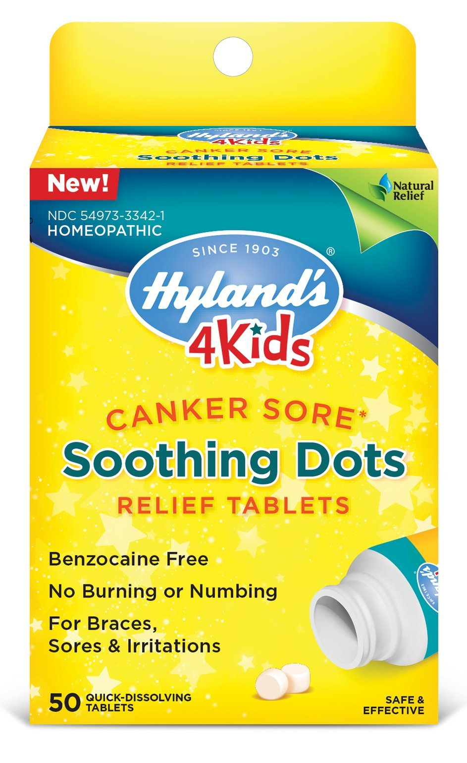 Hyland's 4 Kids Canker Sore Treatment, Natural Pain Relief of Mouth Ulcer, Braces, and Oral Irritation, 50 Tablets