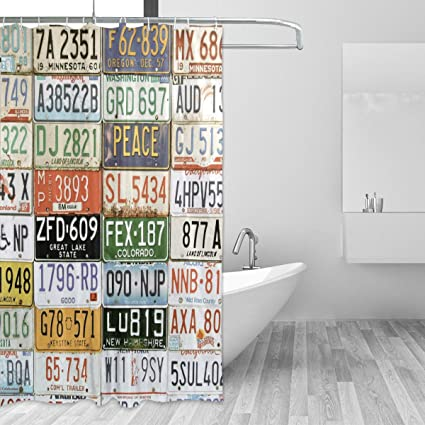 WellLee Old Aged License Plates Collage Museum Shower Curtain Waterproof Fabric Fashion Custom Bathroom Decor 66