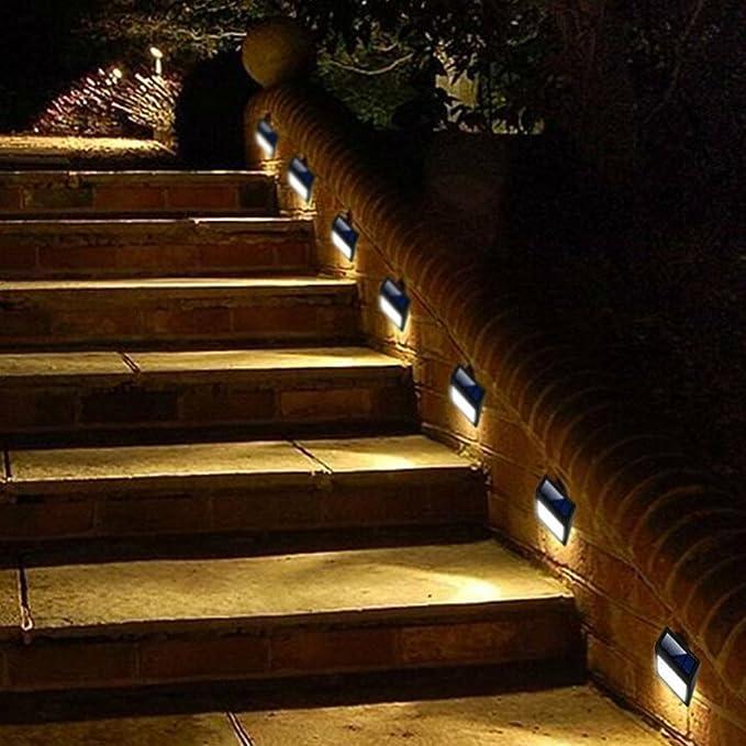 Luz solar exterior escalera pared luces jardín puerta trasera valla cubierta patio impermeable: Amazon.es: Bricolaje y herramientas