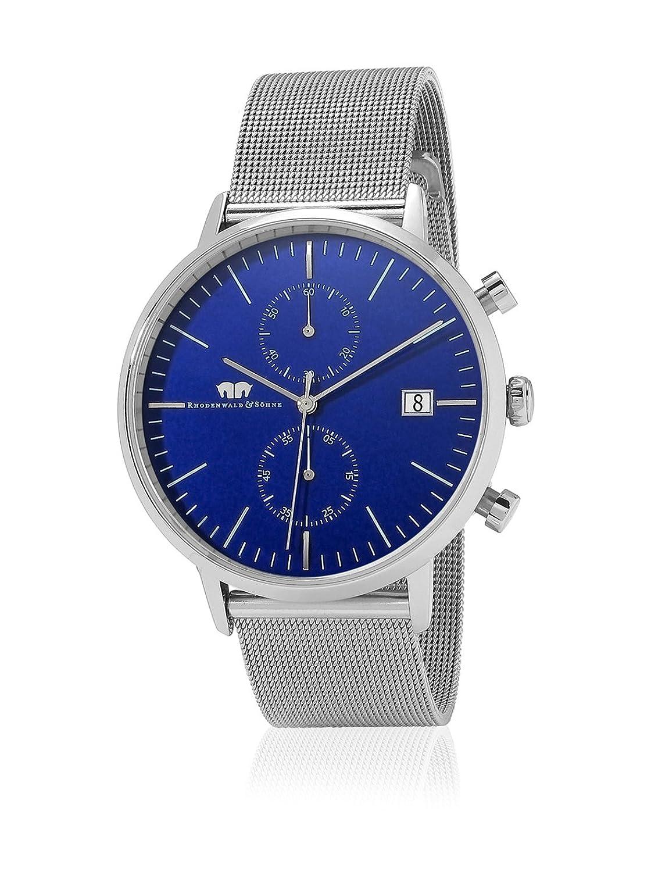 Rhodenwald & SÖhne Hyperstar Herrenuhr Chronograph Edelstahl silber-blau PrÄzisions-Quarzwerk 5 ATM Milanaiseband -