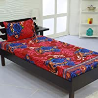 Valito - Microfiber (90 GSM), Single Bedsheet, (235 cm x 140 cm) with Matching Pillow Cover (42 cm x 69 cm) - Blue Floral Motif, Red