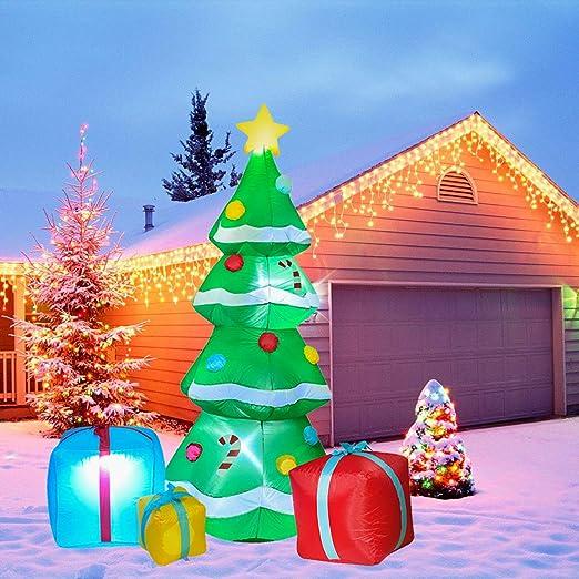 YQing 213cm Árbol de Navidad Inflable Luces LED, árbol de Navidad ...