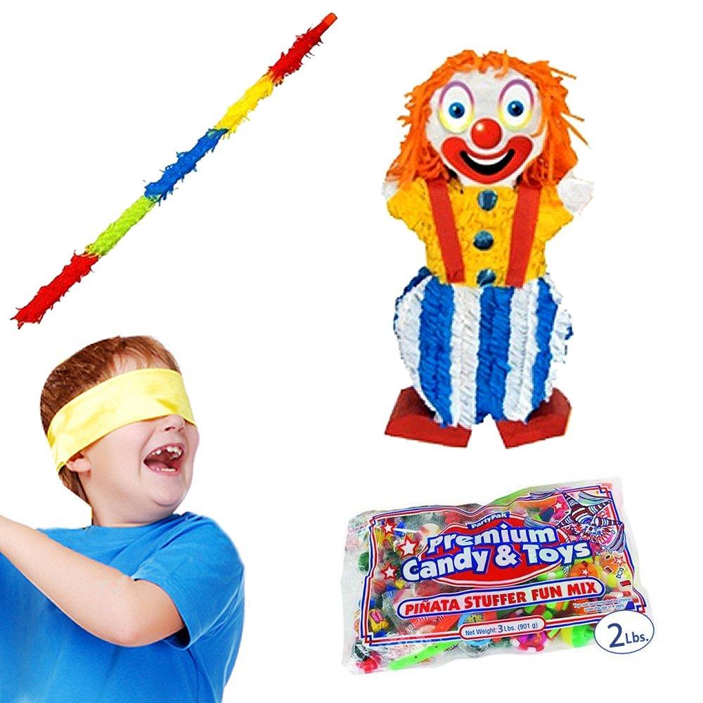 Clown Pinata Kit Including Pinata, 2 Lbs. Filler, Buster Stick and Bandana