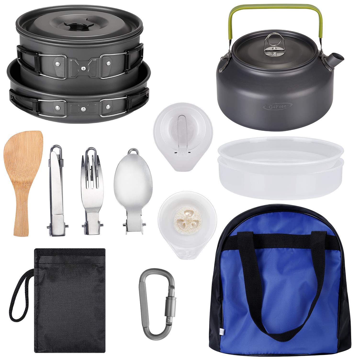 G4Free Camping Cookware Mess Kit, Lightweight Pot Pan Kettle Fork Knife Spoon Kit for Backpacking, Outdoor Camping Hiking and Picnic(19pcs Set) by G4Free