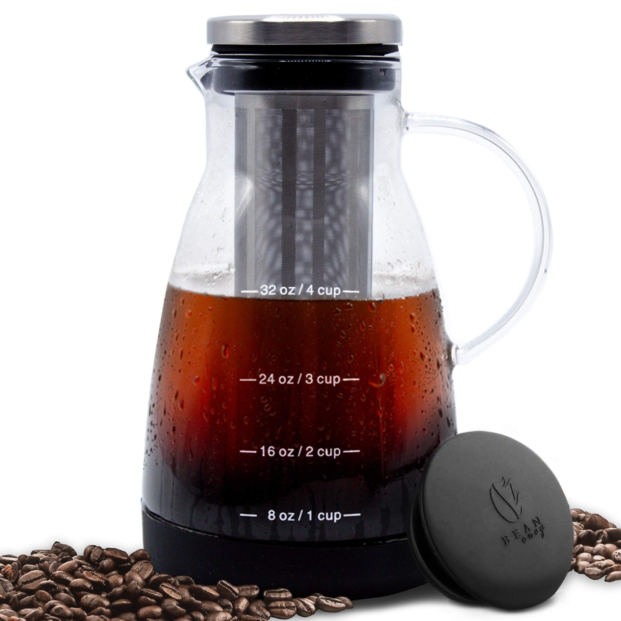 Bean Envy Cold Brew Coffee Maker - 32 oz - Premium Quality Glass - Perfect For Homemade Cold Brew and Iced Coffee - Includes Unique Non-Slip Silicone Base by Bean Envy