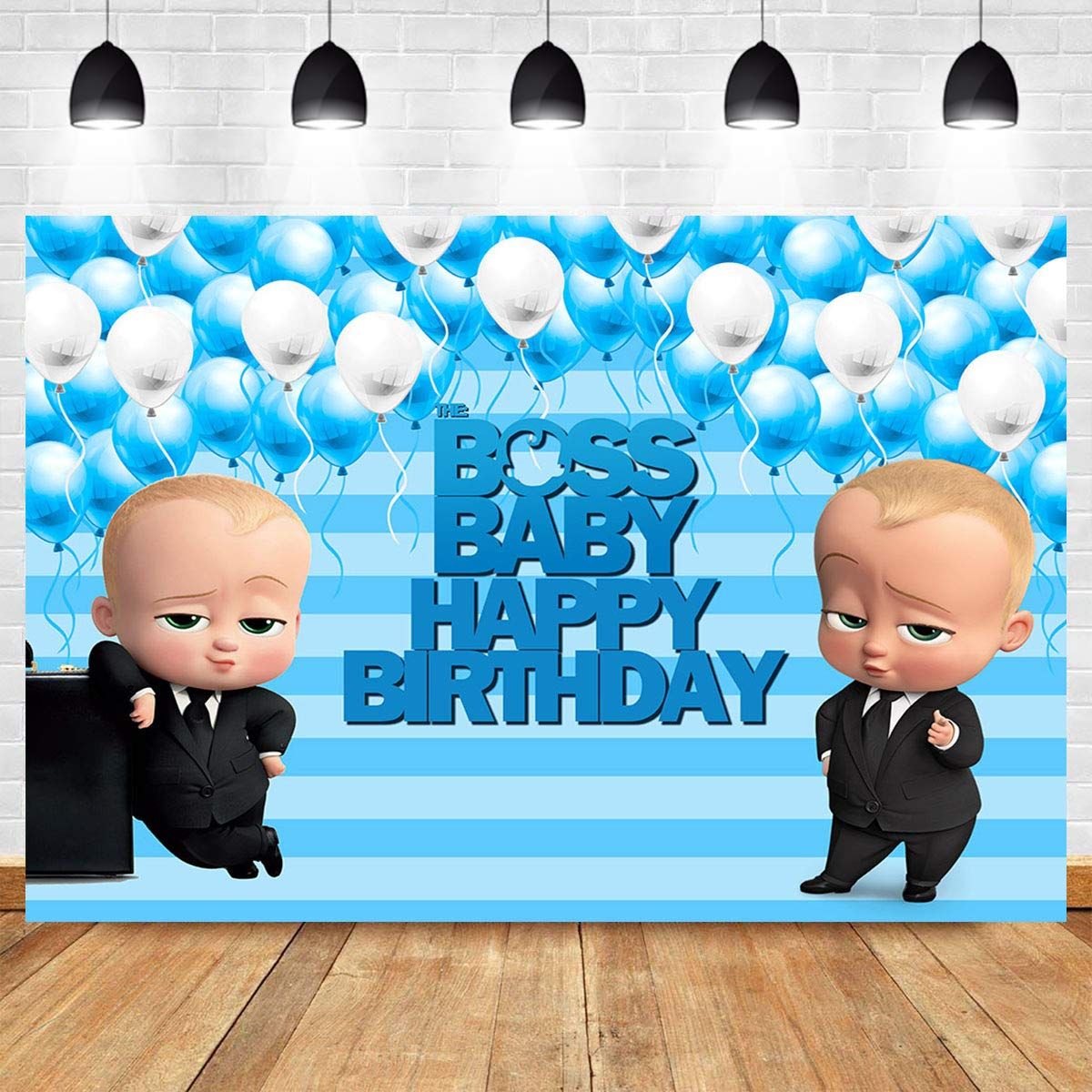 Photography Backdrop Blue Stripe Ballon For Baby Shower Supplies Vinyl 7x5ft Photo Background Boss Baby Happy Birthday Boys Girls Cake Table Photo