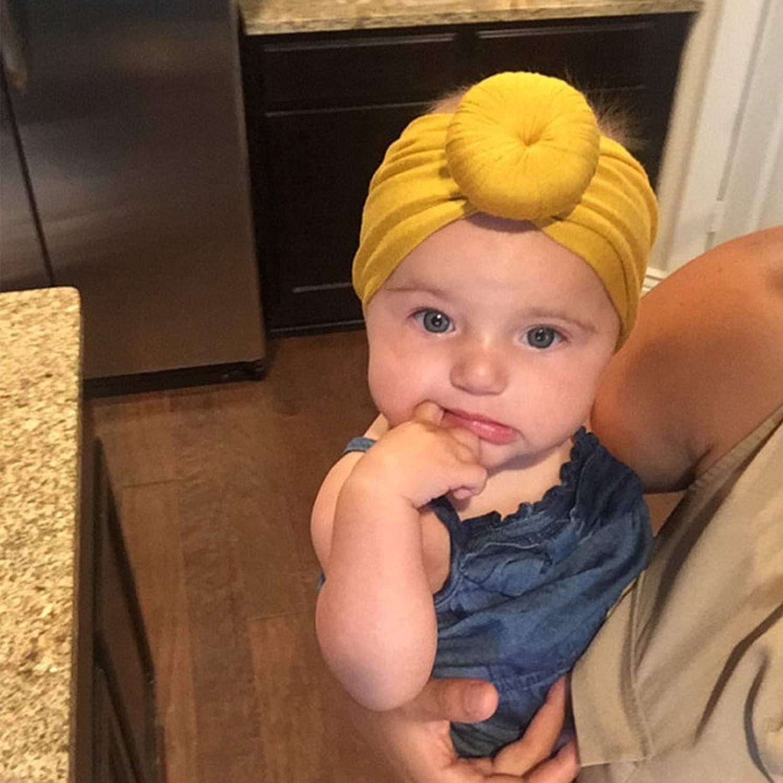 DRESHOW BQUBO 5 Pieces Baby Turban Hats Turban Bun Knot Baby Infant Beanie Baby Girl Soft Cute Toddler Cap