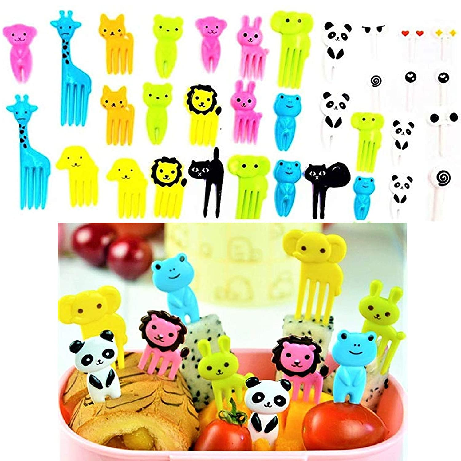 Cute Bento Decoration Box, Animals Food Picks and Forks Baby Food Picks Fruit Picks for Kids (Pack of 36) NF