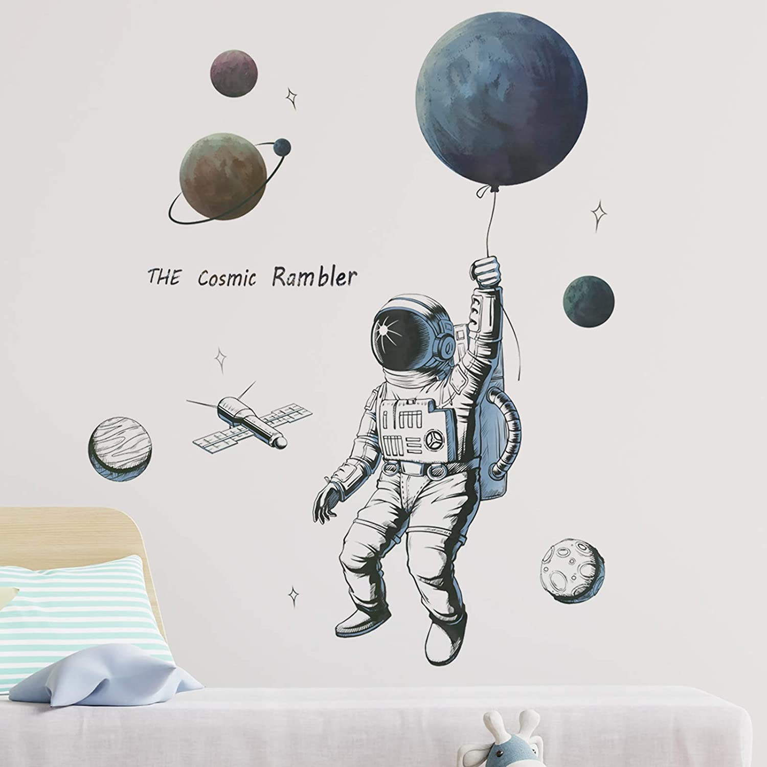 Astronaut Spaceman Wall Decals, HOLENGS Peel and Stick Outer Space Spaceship UFO Wall Stickers, Stars Planet Wall Decor for Kids Boys Explorer Living Room Bedroom Nursery Home Wall Decoration