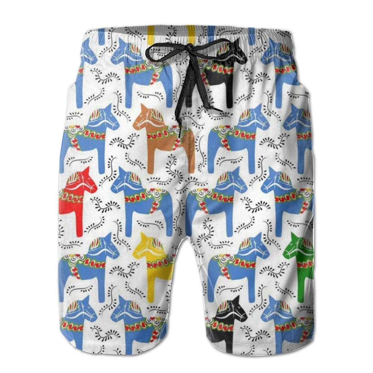 RYHT Colorful Horse Pattern Mens Summer Beach Quick-Dry Surf Swim Trunks Boardshorts Cargo Pants