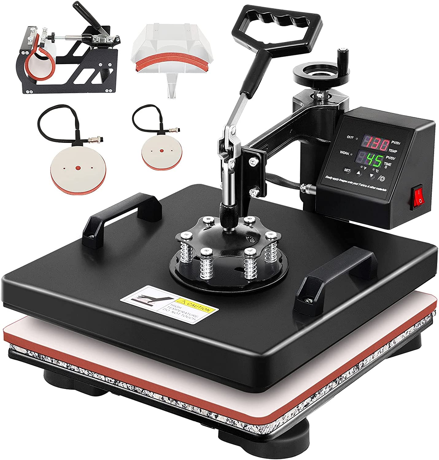 Dollate 15 x 15 Heat Press Machine 5 In 1 Digital Sublimation for Hat Plate T-shirt Mug Plate Cap Cup Heat Press Transfer Machine(5 in 1 15 x 15)