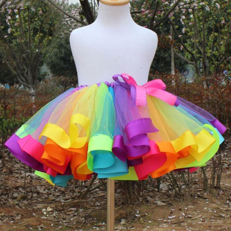 Phenovo Kids Handmade Colorful Tutu Skirt Girls Rainbow Tulle Tutu