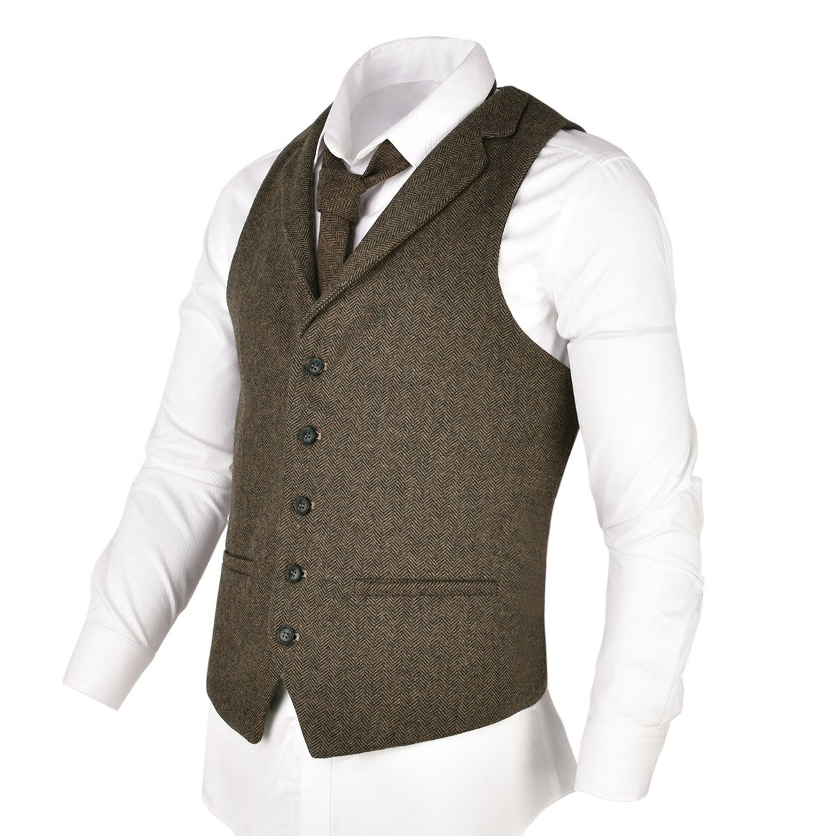 VOBOOM Mens Herringbone Tailored Collar Waistcoat Fullback Wool Tweed Suit Vest (Khaki, L)
