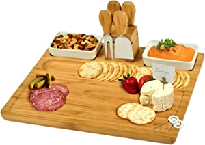 """Picnic at Ascot Large Bamboo Cheese Board/Charcuterie Platter with 4 Stainless Steel Tools , 2 Ceramic Trays & Cheese Markers -16"""" x 13""""- Designed & Quality Checked in USA"""