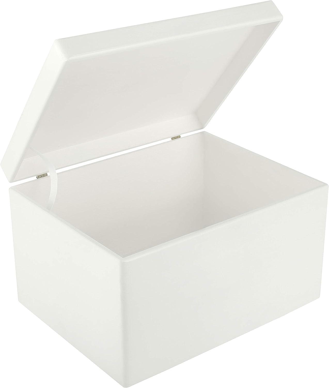 Creative Deco XXL Blanca Grande Caja de Madera para Juguetes | 40 x 30 x 24 cm (+/-1cm) | con Tapa Cofre para Decorar | para Almacenar Documentos, Objetos de Valor, Herramientas: Amazon.es: Hogar