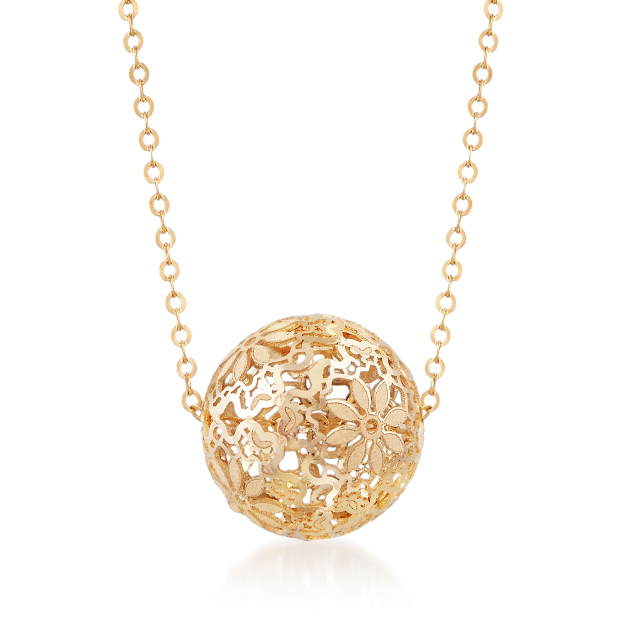 Ross-Simons Italian 14kt Yellow Gold Floral Openwork Bead Necklace