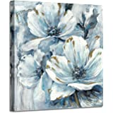 Flowers Artwork Canvas Painting Pictures: White & Blue Lily Bouquet with Blooming Petals Wall Art for Living Room (28'' x 28'