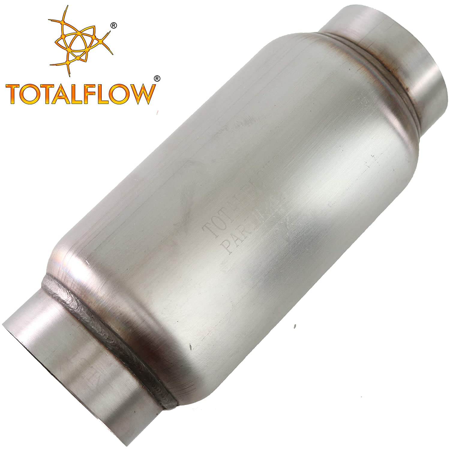 10 Body 12 Overall Length Inner Inlet-3.5 Outer Diameter Outlet TOTALFLOW 2106 Mini Muffler 409SS 4.5 Round Width