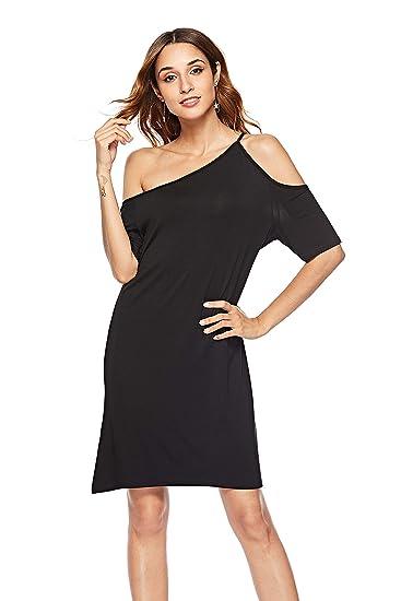 0f5d846b93838f SUNNOW Women s Open Cold Shoulder Short Long Sleeve Asymmetrical Shoulder  Tunic Midi Dress (US4-