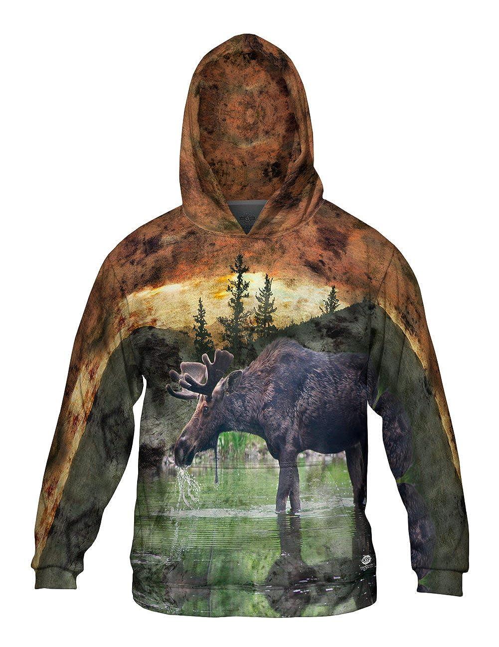Mens Hoodie Sweater Yizzam Allover Print Lake Moose