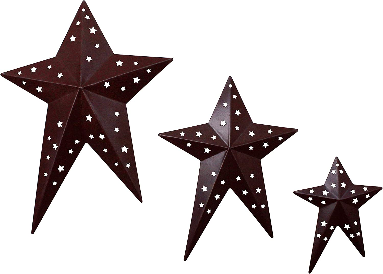 CVHOMEDECO. Primitives Rustic Vintage Gifts Burgundy Punched Metal Barn Stars for Wall/Wreaths/Twigs Decor, 8/6/4 Inch, Set of 3
