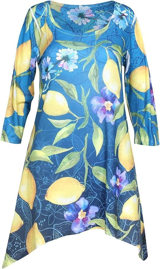 Neck 3//4 Sleeve T Shirt Women/'s V Tunic in Lemon Yellow in Size 12