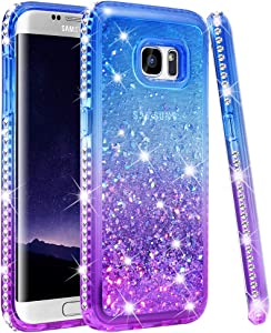 Ruky Samsung Galaxy S7 Edge Case, Colorful Quicksand Series Bling Diamond Sparkly Glitter Flowing Liquid Floating Soft TPU Women Girls Case for Samsung Galaxy S7 Edge (Blue Purple)