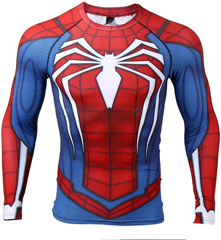 COOLMAX Raglan Sleeve Spiderman 3D Printed T Shirts Men Compression Shirts