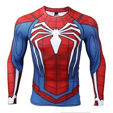 3a3cf064 COOLMAX Raglan Sleeve Spiderman 3D Printed T Shirts Men Compression Shirts  (Small, Blue)