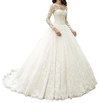 0dcce00ba90 APXPF Women s Vintage Long Sleeves Lace Wedding Dress Illusion Neckline  Bride Gowns Ivory US2
