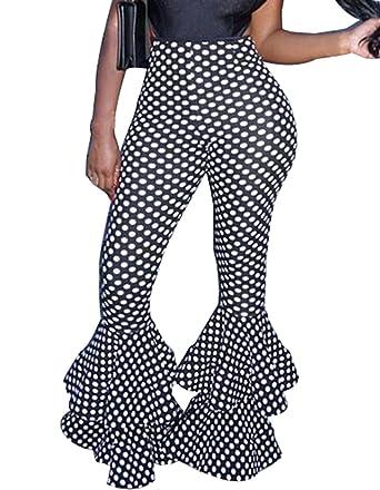 1123a93bf98d86 GUOLEZEEV Women Polka Dot Print Stretch Bodycon Pencil Pants Leggings Bell  Bottom Black S