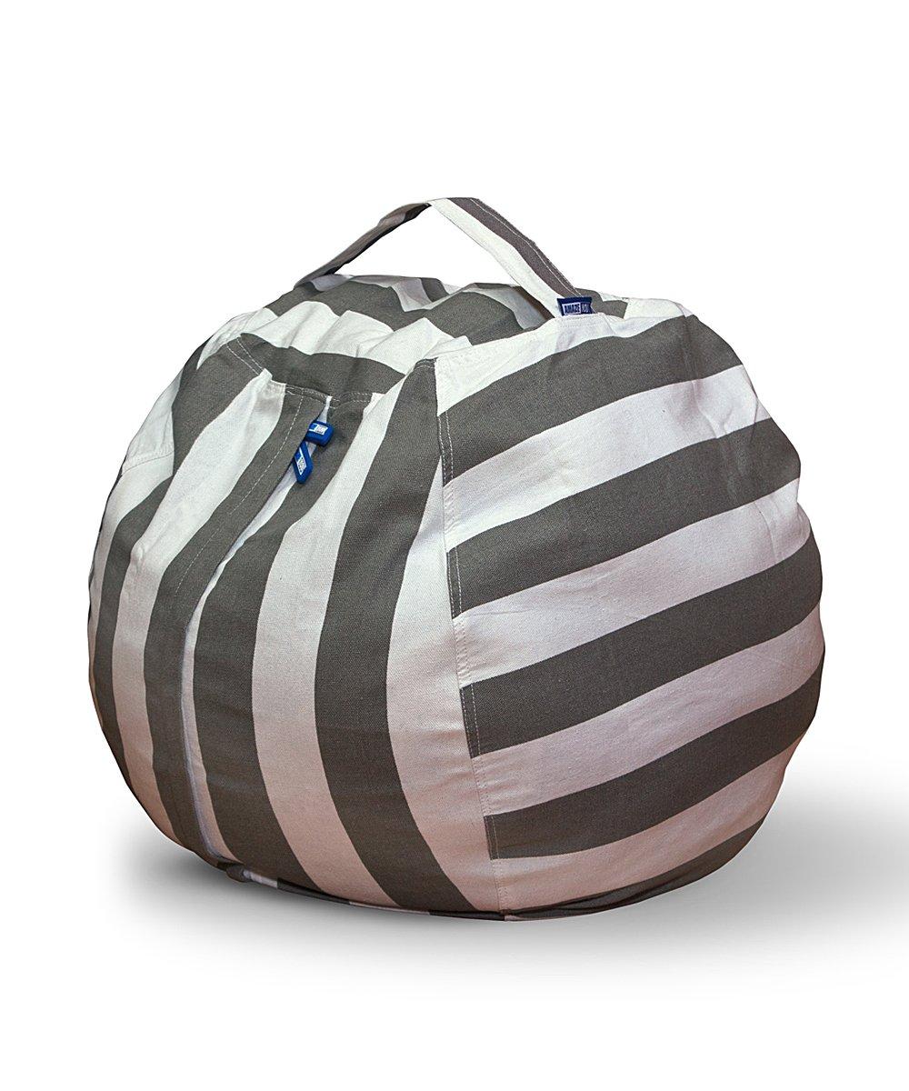 AMAZEYOU Stuffed Animal Storage Bean Bag Chair – Stuff 'n Sit – Premium Cotton Canvas – Comfy Pouf Organizer for Children and Kids (24'', Grey/White Striped)