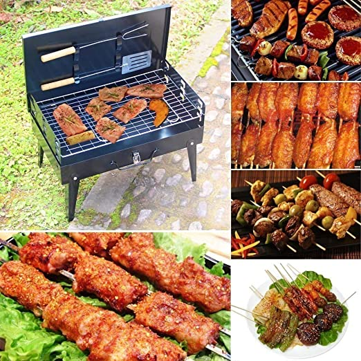 Kumaka Charcoal Portable Barbecue Grill Box (8-inch, Black)