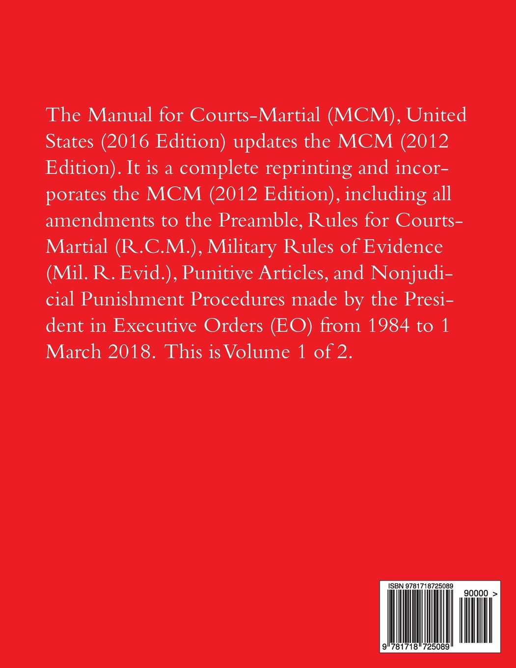 Manual for Courts-Martial: 2018 (Volume 1): Joint Service Committee on  Military Justice: 9781718725089: Amazon.com: Books