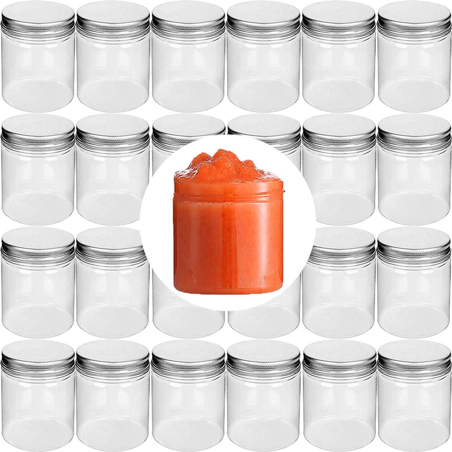 24Pack 6 oz Small Plastic Jars with Lids, Wide Mouth Food Storage Jars, Refillable Empty Containers, Small Storage Containers for Slime, Dried Fruit, Nuts, Honey and Seasoning Storage-BPA Free