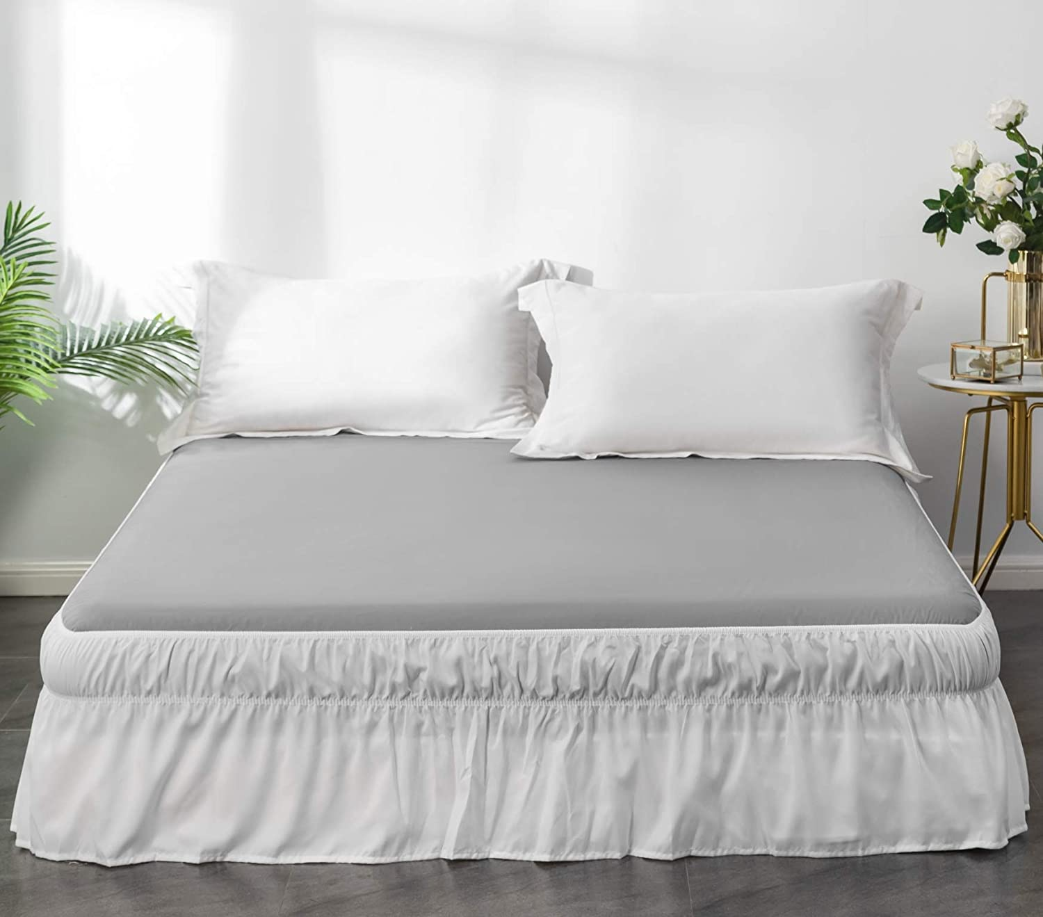 Ayasw Bed Skirt 15 16 Inch Drop Dust Ruffle Three Fabric Sides Wrap Around With Elastic No Top Easy On Queen King White Kitchen Dining Amazon Com